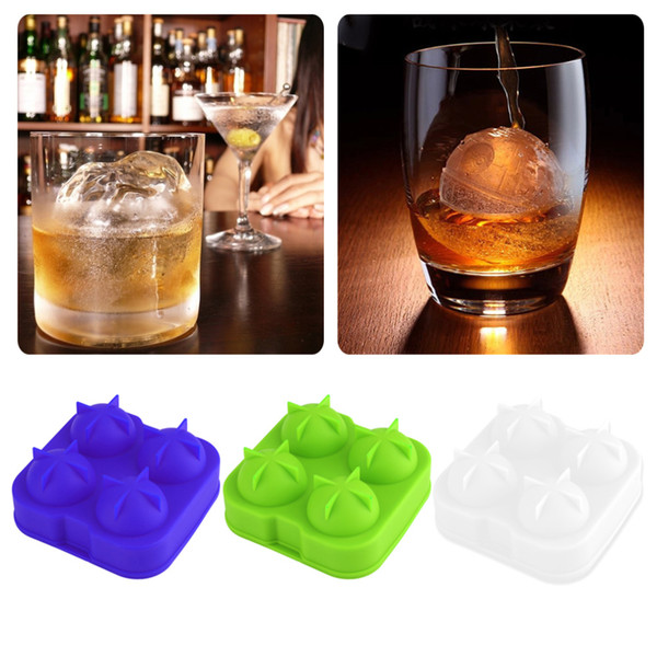 Whiskey Ice Cube Silicone Ball Maker Mold Sphere Mould 4 Holes New Ice Balls Party Brick Round Tray Bar Tool Free Shipping