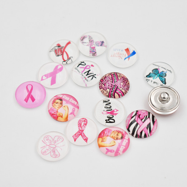 Ribbon pink snap button jewelry Breast Cancer Awareness charm popper for 18mm snap bracelet necklace earrings Accessories