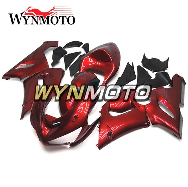 Cubiertas de motocicletas aptas para Kawasaki ZX-6R ZX6R 05 06 2005 2006 Perla ABS rojo Plásticos Inyección Plásticos Kit de motocicleta Cubiertas para el cuerpo de Sportbike