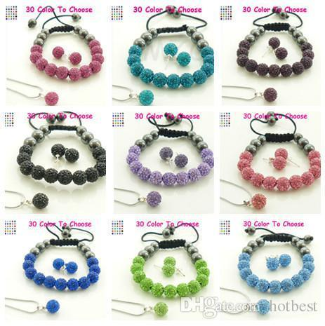 10Pcs/lot 10mm crystal clay hotslae new arrival disco bead Rhinestone shamballa Set bracelet necklace studs earrings jewelry set t422 j7