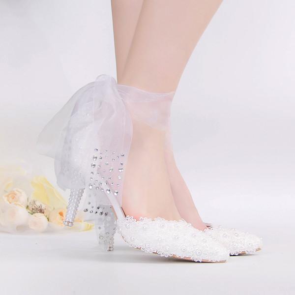 Nouveau mode a souligné dentelle perle robe de mariée chaussures blanc ruban de perle a souligné chaussures de soirée à talons hauts rue femmes fashion talons hauts