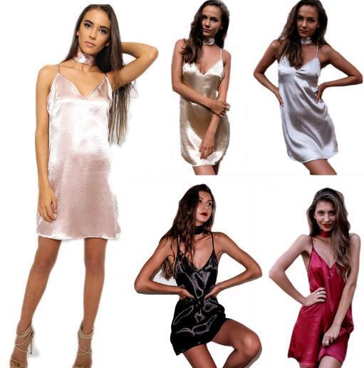 Mulheres vestido de boate sexy imitação de couro de metal legal roupas de couro apertado suspensórios boate clube brilho backless dress 5 cores