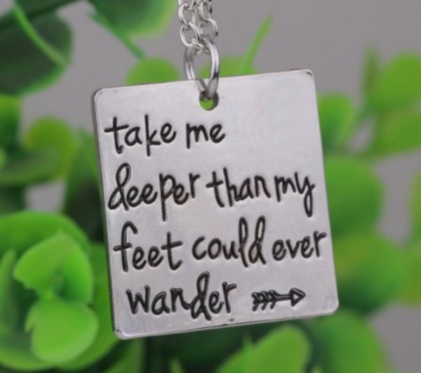 "New arrive 12pcs/ Hand Stamped""Take me deeper than my feet could ever wander""Oceans song lyrics Christian jewelry baptism gift"