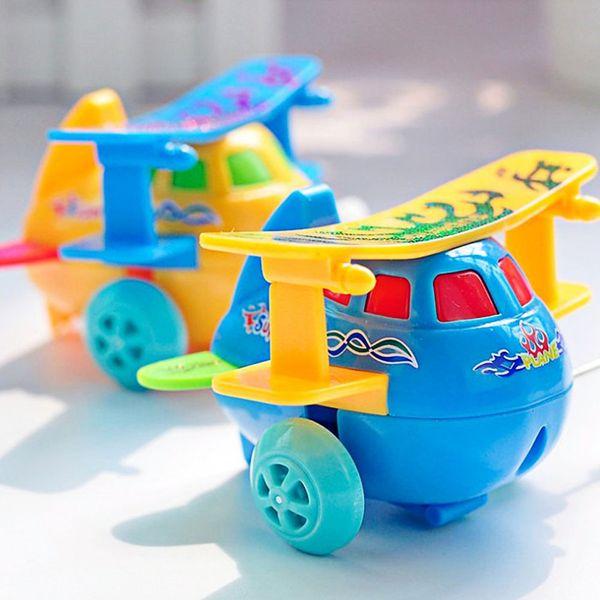 5pcs/lot Baby Clockwork Toys Cartoon Airplane Model Wind Up Toy Running Clockwork Spring Toys for Children