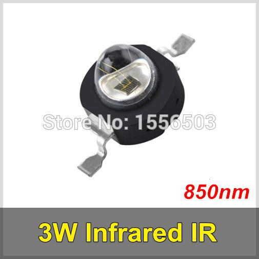 100 Pcs/lot 3W Infrared IR 850nm High Power LED Bead Black LEDs Emitter DC1.8-2.2V CCTV Camera IR Diode for Security