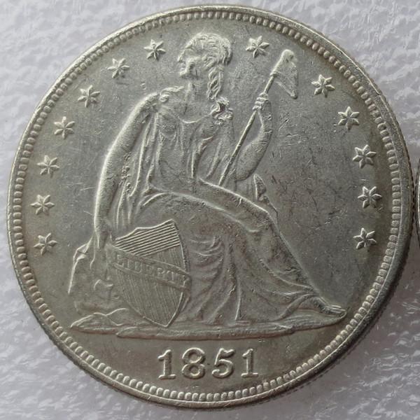 Heißer Verkauf 1851 Sitzende Liberty Silberdollars Ein Dollar Billig Fabrikpreis schönes Zuhause Zubehör Silber Münzen