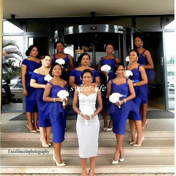 Peplum Blue Short Bridesmaid Dresses Sheath Spaghetti Straps Lace Beads Knee Length Tulle 2017 Cheap Wedding Guest Party Maid of Honor Dress