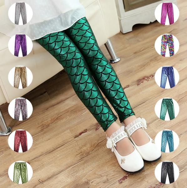 Girls Kids Mermaid Cute Pants baby Colorful Digital Printing Child Leggings Pants mermaid fish scale shiny pants 12 color