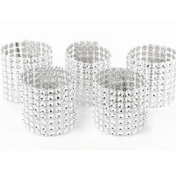 Wholesale- 50pcs 8Rows Diamond Mesh Rhinestone Bow Covers Holders Wedding Napkin Rings DIY Decorations Table Decor Craft Wholesale