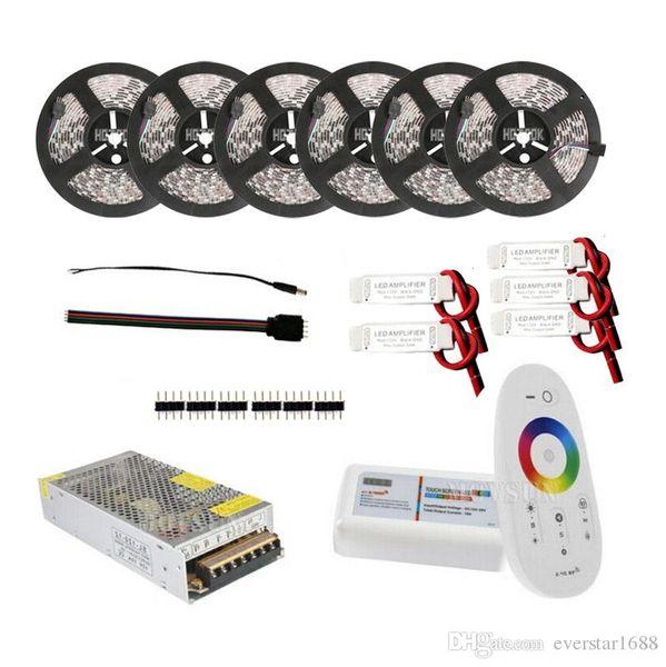 30 m 20 m 15 m Luz de Tira CONDUZIDA 5050 RGB RGBW Luzes DC 12 V Tiras IP65 À Prova D 'Água + Controlador Remoto + Adaptador de Energia + Amplificador