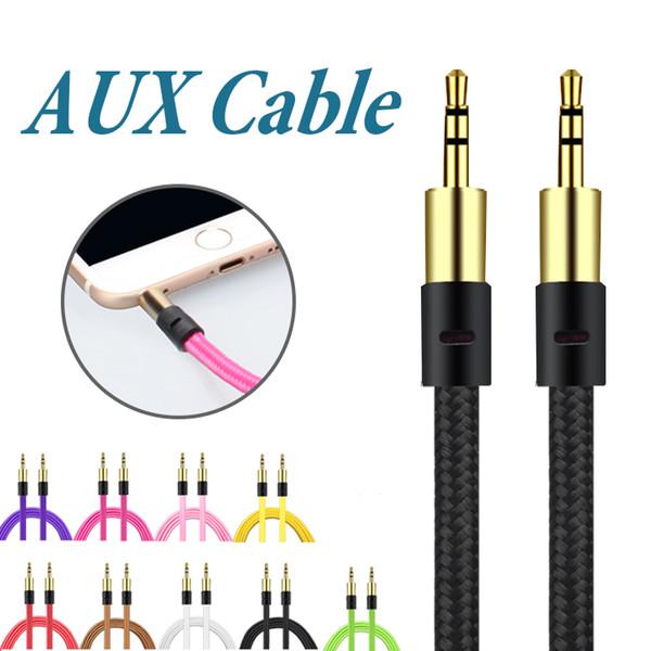 Trenza 3.5mm Cable Auxiliar Macho a Macho Cable AUX Cable de Audio Estéreo Audio para Coche Jack para Auriculares PC iPad sin Paquete