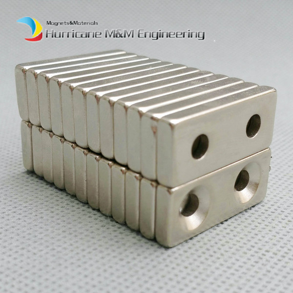 48pcs NdFeB Fix Magnet 28x12x4mm with M5 Screw Countersunk Hole Block N42 Neodymium Rare Earth Permanent Magnet