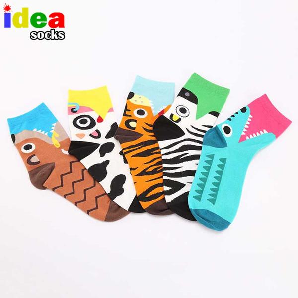 Wholesale-2015 Autumn And Winter Cartoon Crocodile Tiger Cow Dog Zebra Fashion Leisure Ladies Fun Girls Cartoon Cotton Middle Tube Socks