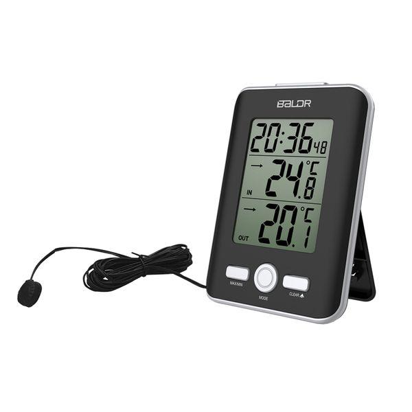 Nuevo LCD Termómetro digital con cable Sensor interior exterior Medidor de tendencia de temperatura de la temperatura Snooze Table reloj despertador