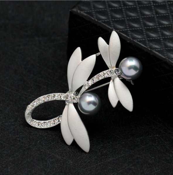 Matte Silver Plated Double Dragonfly Brooch Pearl Crystal Pins Brooches Luxury Rhinestone Corsage Jewelry For Man Women Party Gift