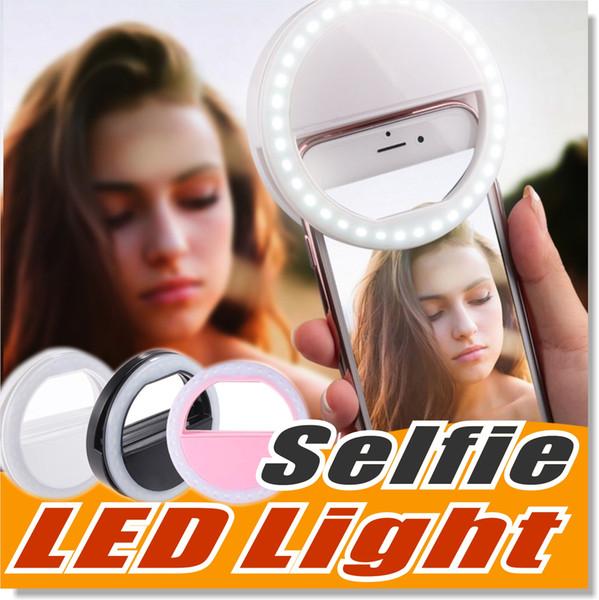 Selfie luz LED anel de preenchimento de luz suplementar fotografia câmera de iluminação para samsung galaxy s8 iphone 7 6 6s lg sony e todos os telefones inteligentes