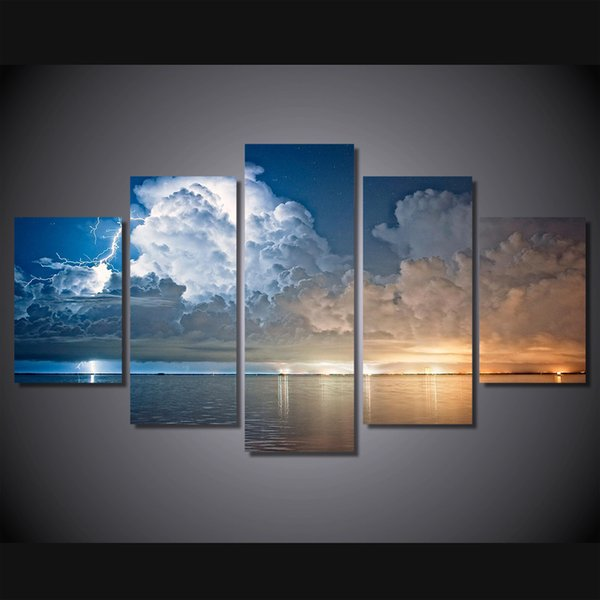 5 Pcs/Set Framed HD Printed lightning and clouds Painting on canvas room decoration print poster picture canvas Free shipping/ny-1410