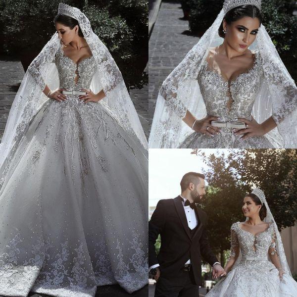 Lujo Arabia Saudita Oriente Medio Vestidos de novia Vestidos de novia de encaje de manga larga de cristal Vestidos de novia 2019 Vestido de boda de estilo moderno