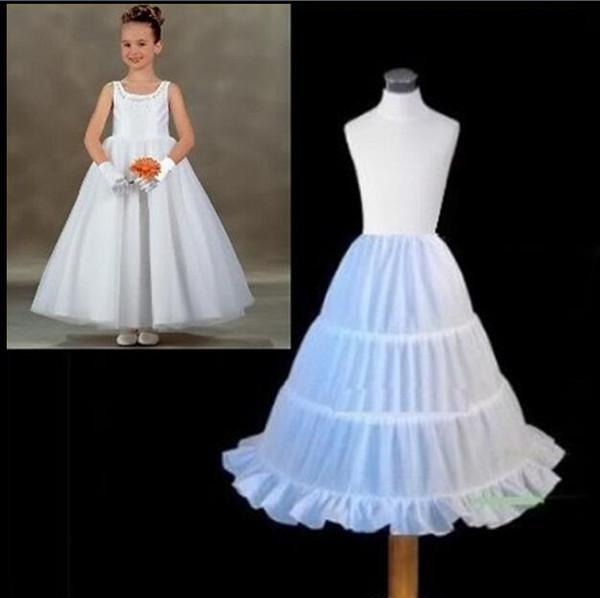2017 Hot Sale Three Circle Hoop White Girls' Petticoats Ball Gown Children Kid Dress Slip Flower Girl Skirt Petticoat Free Shipping
