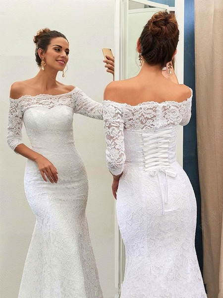 2019 Boho Wedding Dresses Cheap Vinatge Off the Shoulder Lace up Long Sleeves Bridal Gowns Custom Made White Mermaid Weeding Gowns