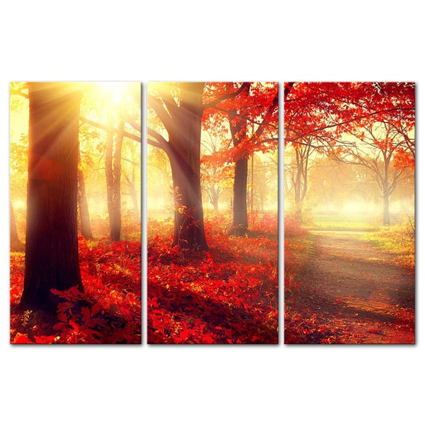 The Picture For Home Decor Autumn Fall Scene Beautiful Maple Trees And Leaves Foggy Forest In Sunny Rays Landscape Forest Print On Canvas