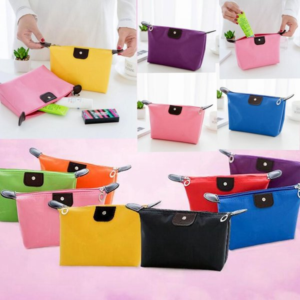 top popular candy color Travel Makeup Bags Women's Lady Cosmetic Bag Pouch Clutch Handbag Hanging Jewelry Casual Purse KKA1825 2019