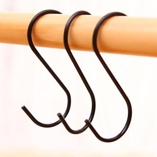Wholesale- 3Pcs/pack Stainless Steel Hanger Clasp Rack Shape S Hooks Black Color S Shape Home Organize Hook L45