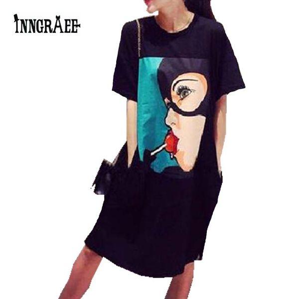 Wholesale- 2016 Fashion Lollipop mori girl print funny emoji pocket side split plus size work fashion skater tee tshirt dress NS1707