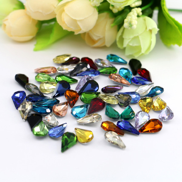 top popular crystal silver back stone 8x13mm Pear Shape 50pcs bag Glass K5 Point Back Fancy Stone Silver Foiled Gemstone (10 Different Color Available) 2019