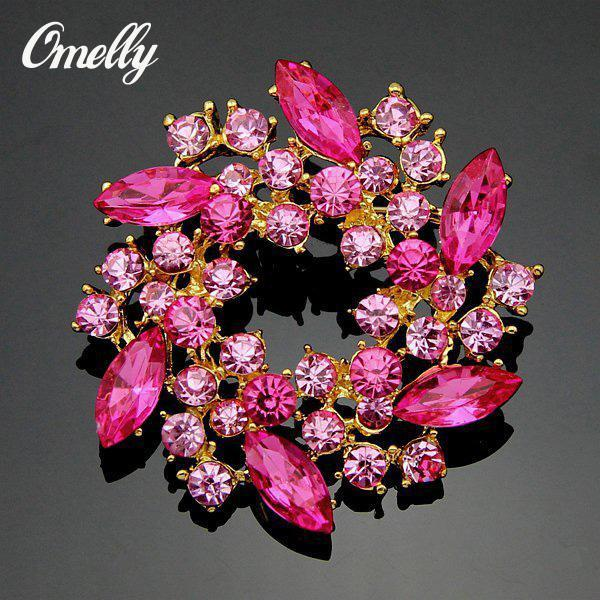 Fashion Silver/Gold Plated CZ Light Pink Crystal Brooches Pins Flower Rhinestone Bouquet Brooches Flower for Christmas Gift Cheap