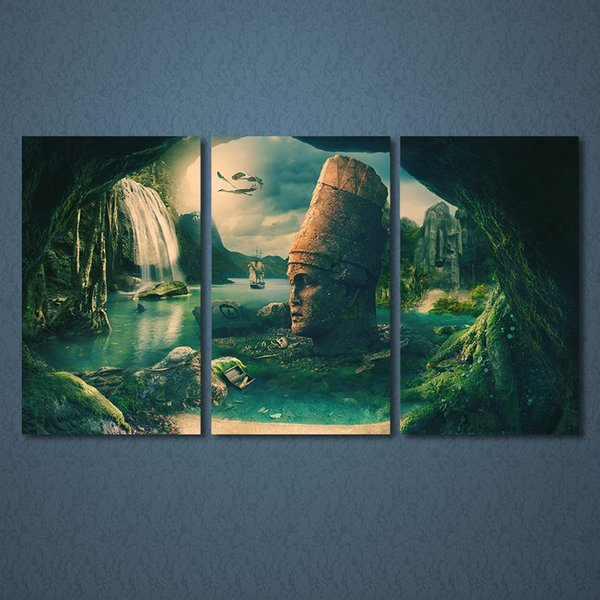 3 Pcs/Set Framed HD Printed Fantastic Rock Land Poster Modern Home Wall Decor Canvas Picture Art Print Oil Painting