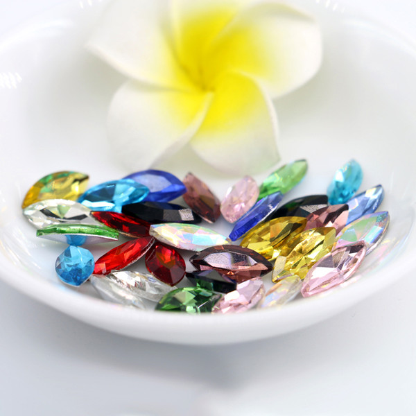 top popular 6x12mm Navette Fancy Stone Pointed Back Glass Crystal Jewelry Beads Bracelet,Necklace,Brooch Making 50pcs bag (10 Different Color Available) 2019