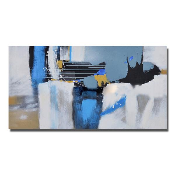 Großhandel Nice Decor Ölgemälde Abstrakt Blau Wandbilder Moderne Leinwand  Kunst Malerei Für Wohnzimmer Günstige Ölgemälde Kein Gestaltet Von ...