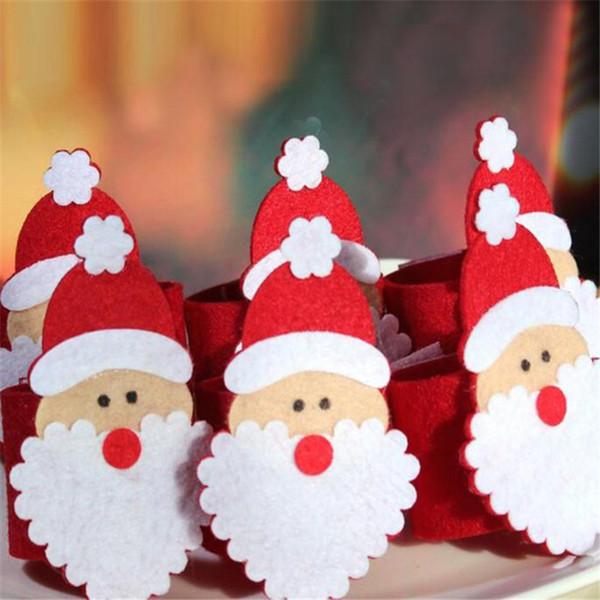 Wholesale- 6Pcs Christmas Santa Claus Napkin Rings Serviette Holder Table Serviette Xmas 161214