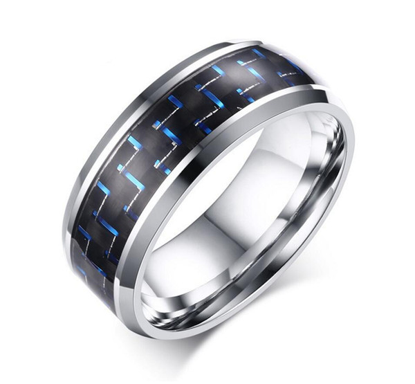 8MM Mens Stainless Steel Ring Wedding Band Black and Red Carbon Fiber Inlay Blue Red