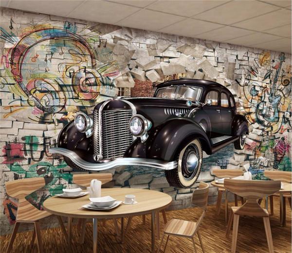 Compre Custom Photo Wallpaper Mural Retro Vintage Car Walking Wall 3d Stereo Restaurant Bar Pared De Fondo Mural A 300 Del Fumei66 Dhgatecom