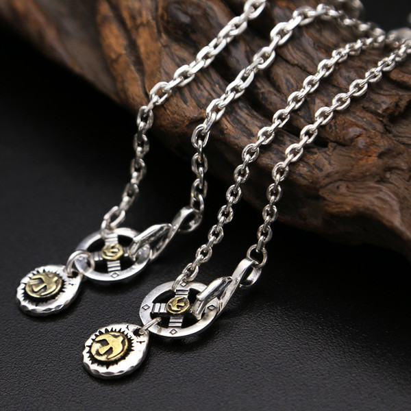925 sterling silver vintage jewelry pendant necklace for men and women eagle and cross charm pendant Japan style long necklace free shipping