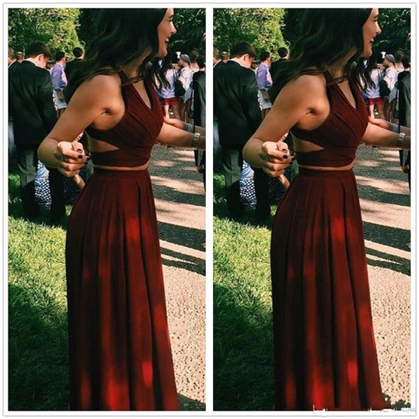 2017 New Red Sexy Two Pieces Burgundy Long Prom Dresses V Neck Sleeveless Ruffle Cut out Floor Length Party Evening Dresses