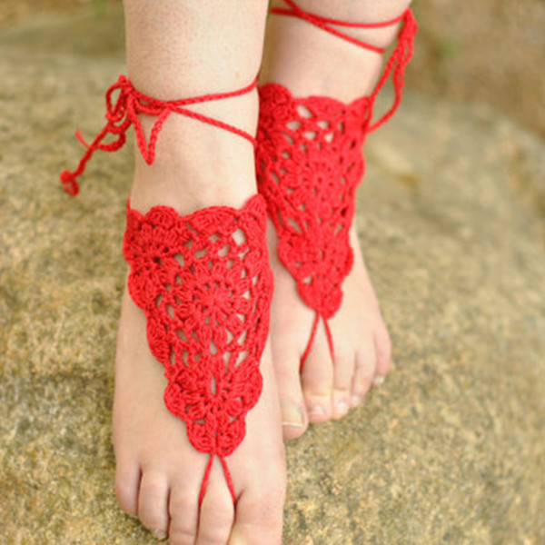 BAREFOOT SANDALS, Crochet, CORAL Red, Beach Wedding, Nude Shoes, Foot Jewelry, Sandles, Gypsy Anklets, Cotton Lace Hippie, Made to Order