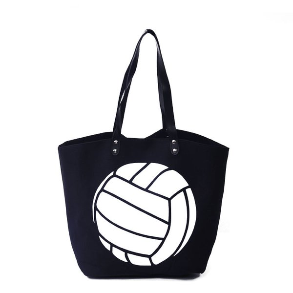 Wholesale Volleyball Women Tote Bag Black Sports Handbag Large Capacity Casual Tote with PU Faux Leather Handle DOM348