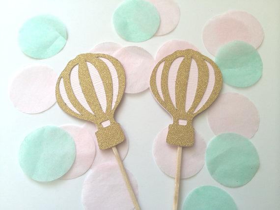 Wholesale- Gold Glitter & Pink Hot Air Balloon cupcake toppers fruit Picks Bridal baby shower Bachelorette party decorations24pcs