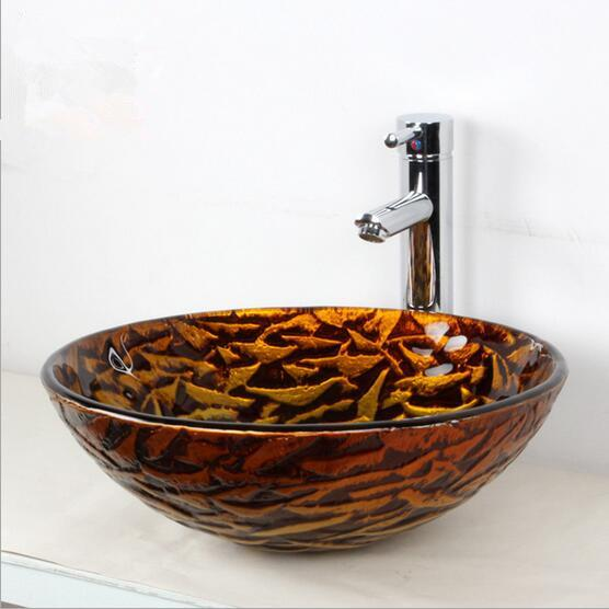 Basin Wash basin Glass Products Bathroom Cleaning Arts Home Decoration Made in China Gold and khaki appearance