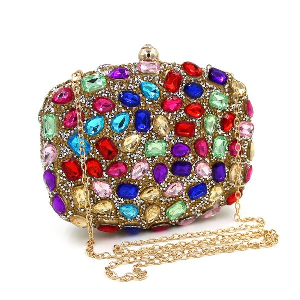 Wholesale- Fashion Women's Clutch Bag with Colourful Diamonds cluth purse chains handbag for wedding party