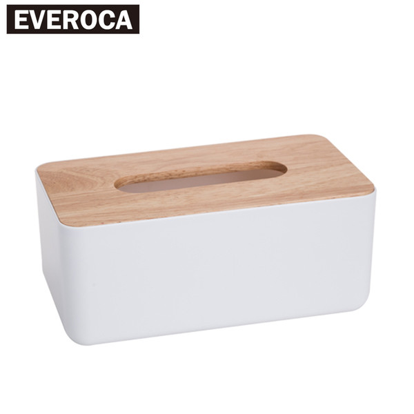 top popular Wholesale- Desktop Plastic Wood lid Cover Storage Tissue Box Drawer Paper Box Multifunction Tissue Box Creative 2021