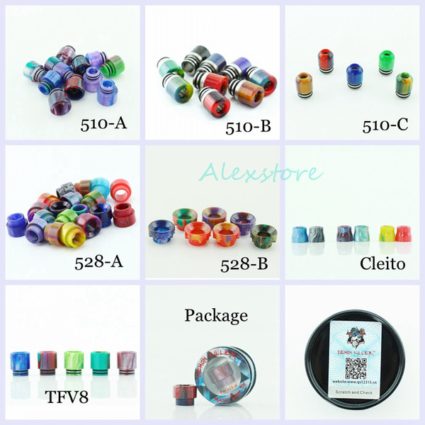 best selling 7 Styles Demon Killer Epoxy Resin Drip Tip Colorful Wide Bore Mouthpiece for TFV8 Prince Cleito Goon 528 510 Tank Atomizers DHL free
