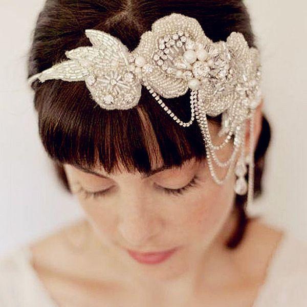ridal headbands with ribbon Pearl Bridal Headbands With Ribbon Crystal Hair Head Chain Vintage Wedding Headpieces Tiaras Bride Headband A...