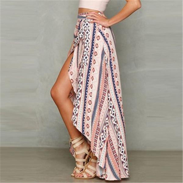 9e28ba56d6 3 Designs New Irregular Long Skirt Women Vintage Stripe Floral Print Side  Slit Wrap Maxi Skirt