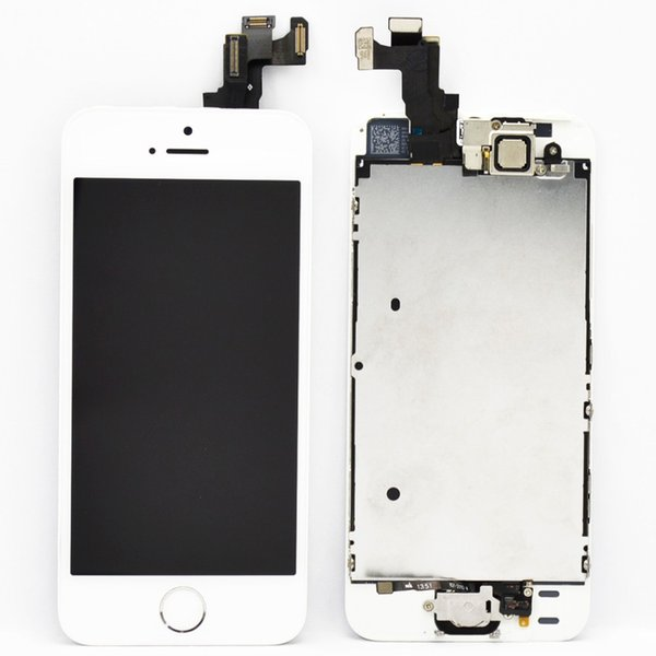 2017 Grade AAA white/ black lcd display touch screen with digitizer home button front camera replacement part assembly for iphone 5s