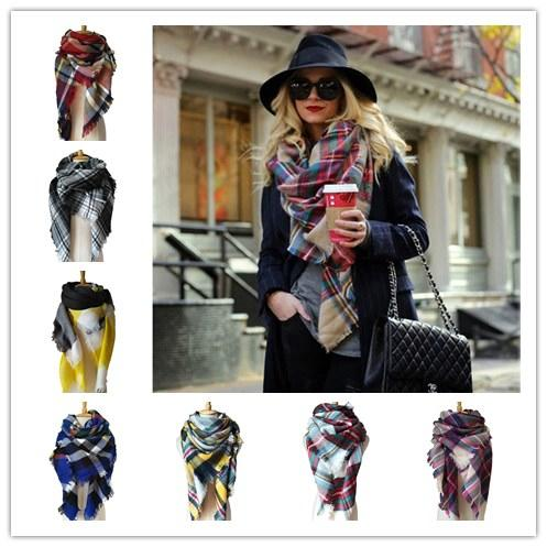 top popular DHL FREE Winter Scarf Women Blanket Plaid Scarf Female Shawls And Scarves Warm Women Short Tassel Tippet 28 colors 2020