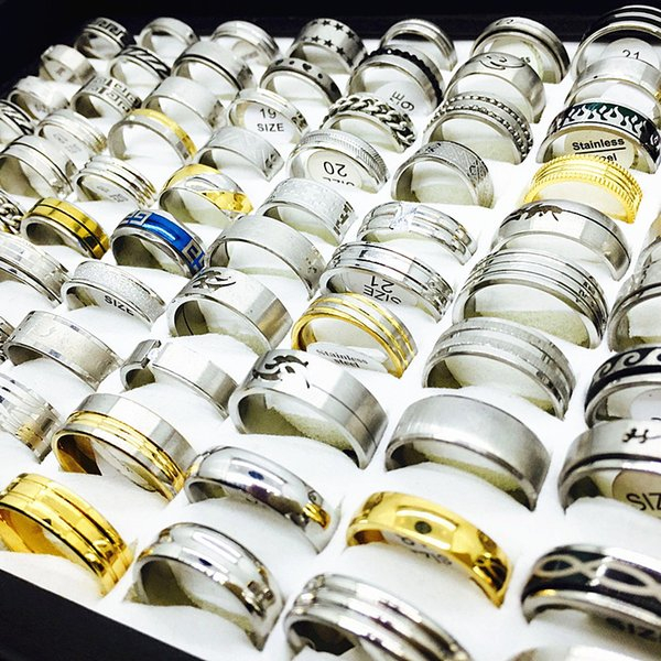 best selling wholesale bulk lots mix styles men's women's fashion stainless steel wedding engagement Jewelry Rings brand new